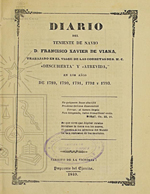 """Cubierta para Diario del viage explorador de las corbetas españolas """"Descubierta"""" y """"Atrevida"""": en los años de 1789 á 1794"""