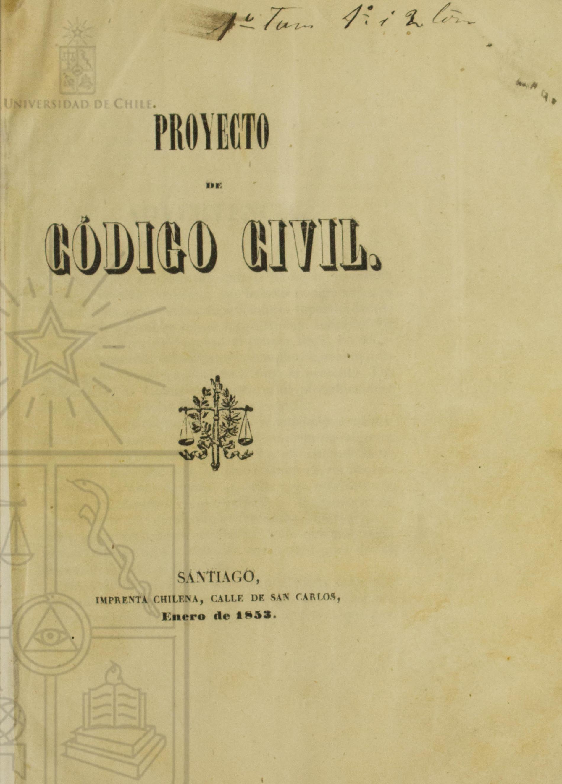 Cubierta para Proyecto de código civil: libro I