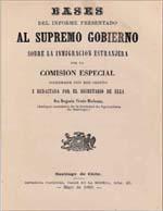 Cubierta para Bases del informe presentado al Supremo Gobierno sobre la inmigración estranjera