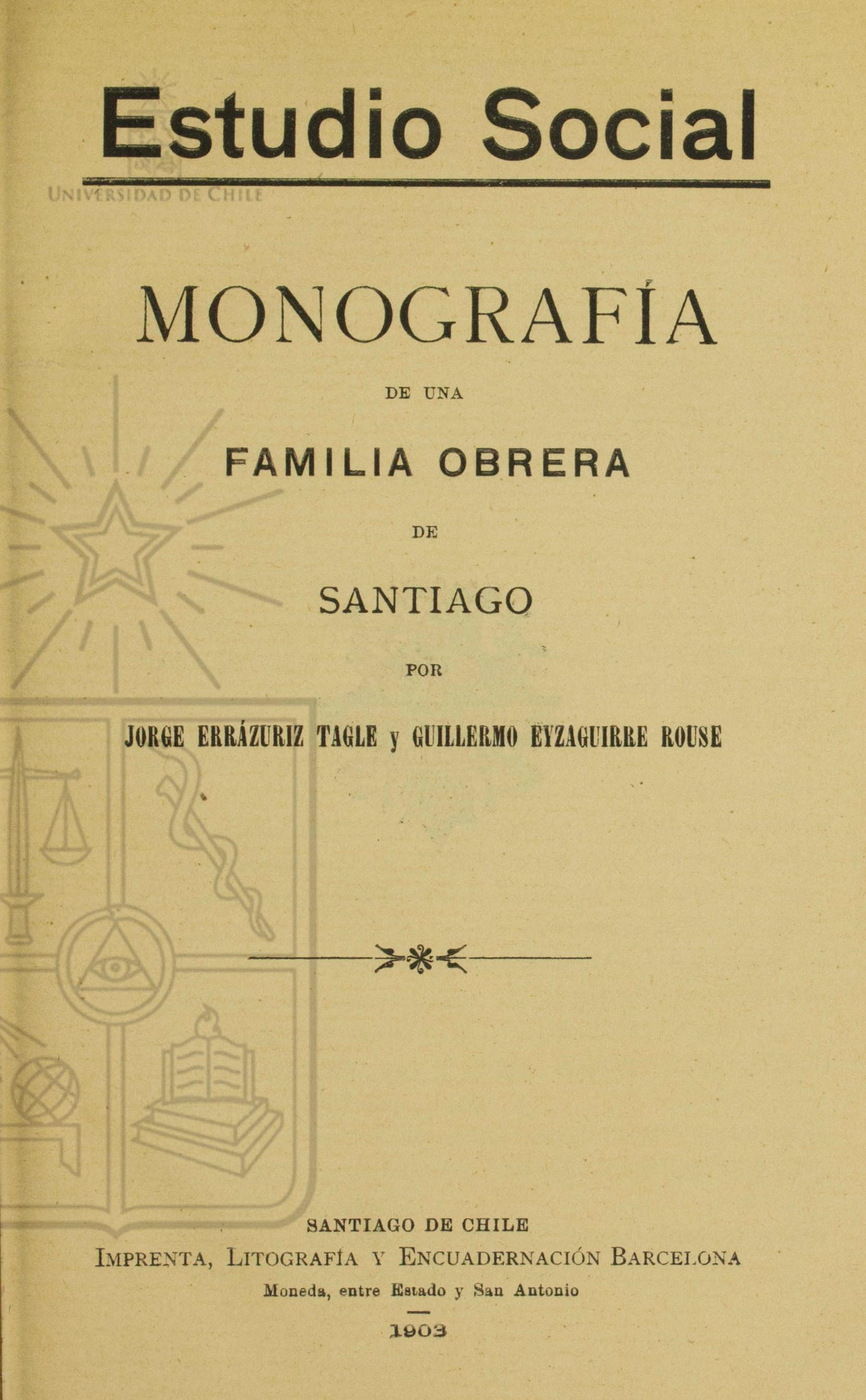 Cubierta para Monografía de una familia obrera de Santiago