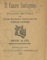 Cubierta para El canario santiaguino: folleto especial de cuecas, canciones y tonadas para las fiestas patrias