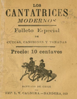 Cubierta para Los cantatrices modernos: folleto especial de cuecas, canciones y tonadas