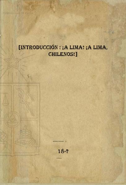 Cubierta para [Introducción: ¡A Lima! ¡A Lima, chilenos!]